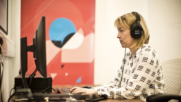 Heritage Quay, woman using computer